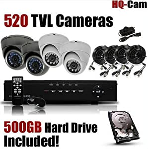 HQ-Cam® 4-Channel H.264 DVR Surveillance Security Package System with 4 x 520 TV Lines Indoor/Outdoor Day Night Vision Cameras For Home Security with Power Suplies and Cables, Pre-Installed 500GB HDD