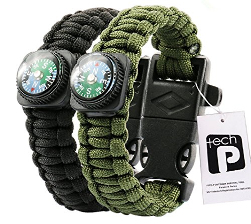 TECH-P-Survival-Gear-Paracord-Bracelet-Compass-Fire-Starter-Scraper-Whistle-Gear-Kits-2-Pack