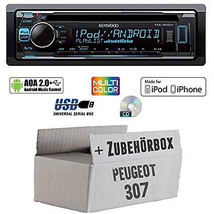 Peugeot 307 - Kenwood KDC-300UV - CD/MP3/USB VarioColor Autoradio - Einbauset