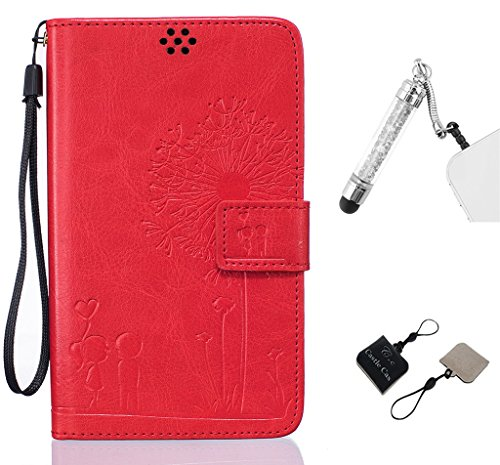 LG G Stylo Phone Case,Couples and Dandelions Design PU Leather Wallet Card Slots Stander Feature Soft Cover with Capacitive Pen and C&C Mobile Cleaner [Red]