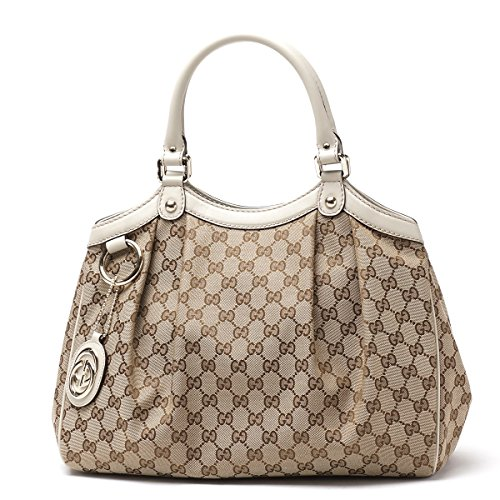 b24dac720182 Gucci 211944 Sukey Medium Beige Original GG Monogram Canvas Leather Guccissima  Handbag Off-White - SHOP HANDBAG BOUTIQUE