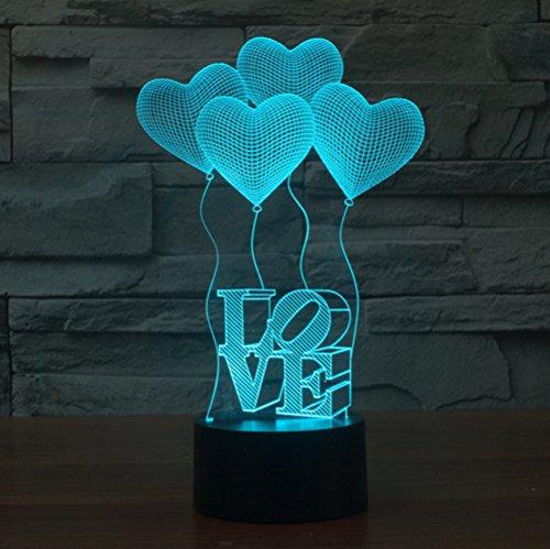 4Love Cuore 3d proiettore inganno ottico a LED luce notturna, Haiyu Cambiare 7farbwech con acrilico Flat & ABS Base & caricatore USB lampada da tavolo toccare Botton