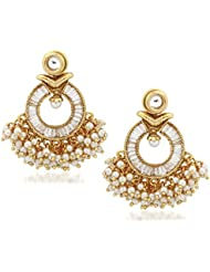 VK Jewels Pretty Gold Plated Alloy Chandbali Earring Set For Women & Girls -ERZ1331G [VKERZ1331G]