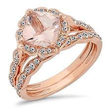 buy 14K Rose Gold Cushion Cut Morganite & Round Cut White Diamond Bridal Engagement Ring Set 2 Ct (Size 6)