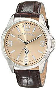 U.S. Polo Assn. Classic Men's USC50006 Oversized Gold-Dial Watch with Textured Band