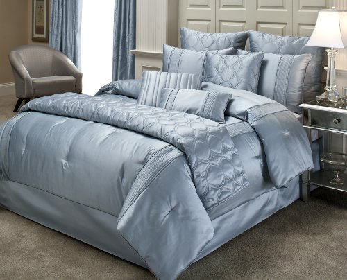 Beacon Looms Radiance 100-Percent Silk 4-Piece Queen Comforter Set, Blue