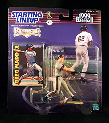 GREG MADDUX / ATLANTA BRAVES 1999 MLB Extended Series Starting Lineup Action Figure & Exclusive Collector Trading Card