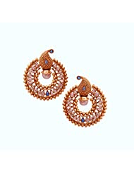 1.1⁰ By Xpressionss Gold Plated Chand Bali Earrings With Paisley Tops Encrusted With Zirconia F-XROE081412