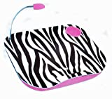LAPTOP CUSHION PORTABLE READING LAP TOP TRAY TABLE WITH 5 LED LIGHT & CUP HOLDER (ZEBRA PRINT PINK)