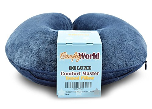 50% OFF Today -The Comfort Master Is The BEST Travel Pillow For Airplane, Bus, Train, Car or Home Use – This Therapeutic Memory Foam Neck Pillow Includes WASHABLE Microfiber Travel Pillowcase – Our Premium Neck Pillow for Travel MOLDS To Your Body Shape – 5 Year Money Back Guarantee