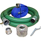 "Eagle PVC/Aluminum Water/Trash Pump Hose Kit, 3"" Green Suction Hose Coupled C x KCN, 3"" Blue Discharge Hose Coupled M x F WS, 29 Vacuum Rating, 70 PSI Maximum Temperature, 50' Length, 3 ID"