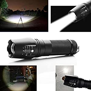 Japace® Ultra Puissante 2200 Lumens CREE XM-L T6 LED Lampe de Poche Torche Crée Zoom Flashlight