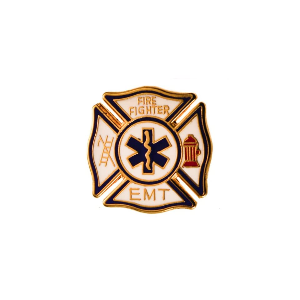 EMT Fire Fighter Blue on White hat or lapel pin Jewelry