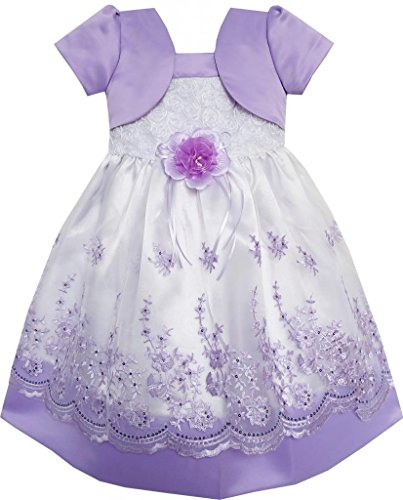 Sunny Fashion 2-In-1 Girls Dress Purple Pageant Lace Flower Wedding Party 4-5 front-117868
