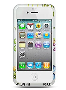 Hard Design Crystal Case Cover for Apple iPhone4, 4th Generation, 4th Gen - White Flower Floral Butterfly