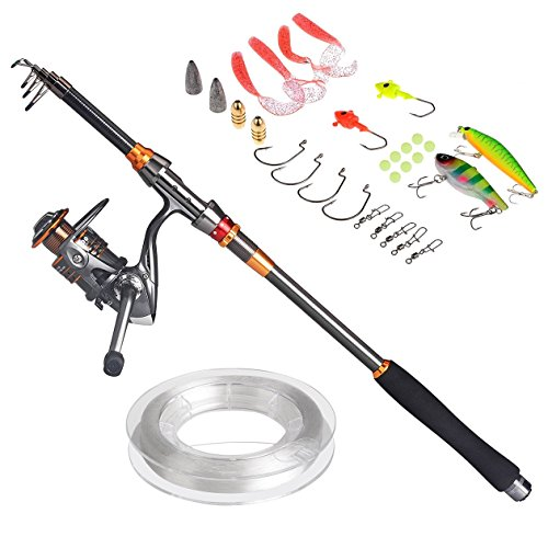 PLUSINNO® Travel Spinning Fishing Rod Combos Carbon Telescopic Fishing Rod Pole with Reel Combo Sea Saltwater Freshwater Kit Fishing Rod Kit (2.1M 6.89Ft)