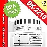"BROTHER-Compatible DK-2210 Continuous Paper Labels (1-1/7"" x 100; 29mm*30.48m) -- BPA Free! (12 Rolls; Continuous Paper)"