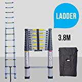 UEnjoy 3.8M Telescopic Extendable Ladder Extension Foldable Steps with Carry Bag Multi-Purpose Aluminium