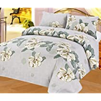Light Blue Floral 4 Piece King Size Microfiber Sheet Set