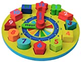 Wooden Shape Sorting Clock / Wooden Clock with Numbers and Shapes Sorting Blocks