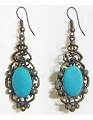Oxidized Hook Earrings With Faux Turquoise Stone - Stone And Metal