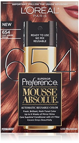 L'Oreal Paris Superior Preference Mousse Absolue, 654 Light Auburn Brown (Color Mousse compare prices)