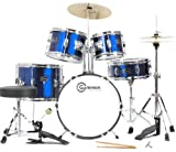 Gammon 5-Piece Junior Children's Kids Starter Drum Set Metallic Blue with Cymbals Stands Sticks Stool