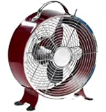 Deco Breeze Colored Retro Metal Box Fan, Merlot