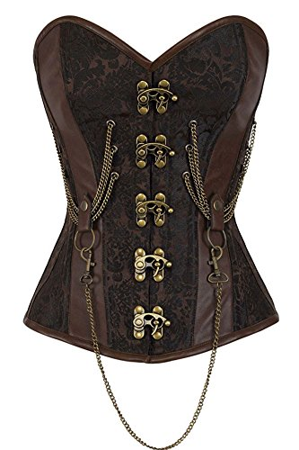 [VIGVOG Women's Steampunk Plus Size Overbust Brocade Corset Bustier with Chains] (Gamora Costume Top)