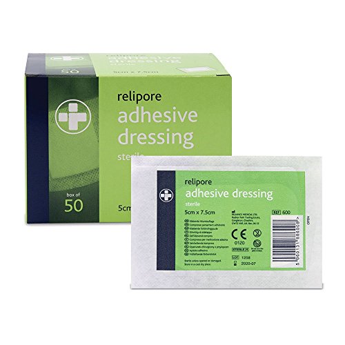reliance-medical-sterile-relipore-adhesive-dressing-pads-75-cm-length-x-5-cm-width-box-of-50