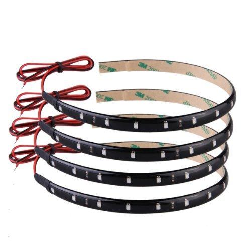 4 strisce adesive luci 15 led impermeabile verde 30cm for Strisce led adesive