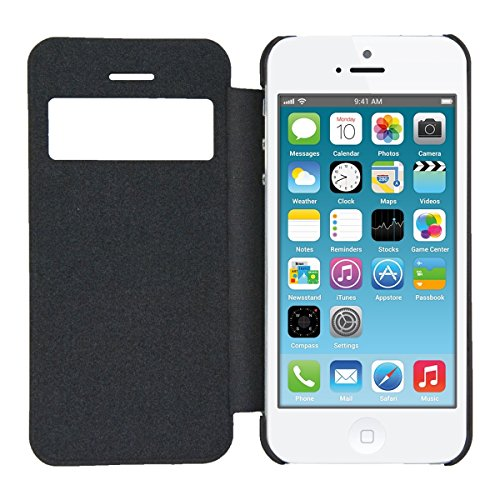 Kwmobile flip cover per apple iphone se 5 5s in nero - Cover con finestra ...