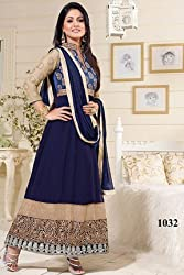 Khwaab Enterprise Hina Khan Blue Georgette Embroidery Work New Design Latest Dress Materials