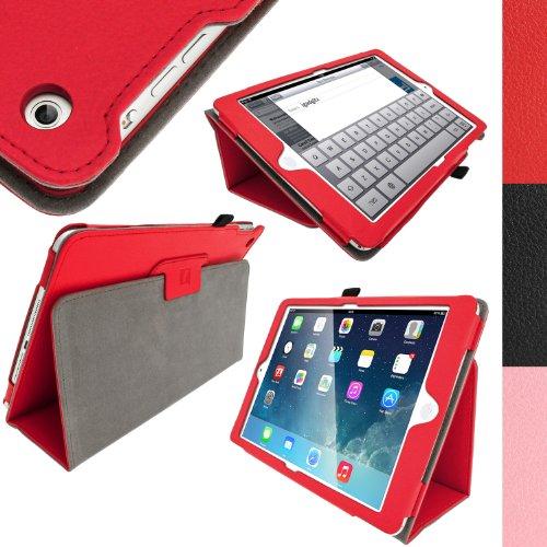 igadgitz Premium Portafoglio Rosso Ecopelle Custodia Cover per Apple iPad Air 2013 Con Supporto Multi-Angle + Auto Sleep Wake + Pellicola