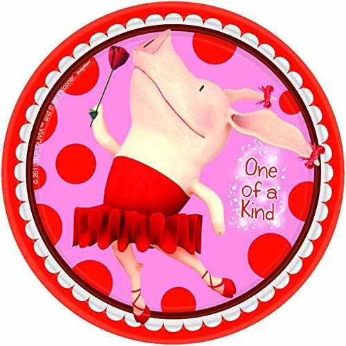 Amscan Dainty Olivia Party Plates (8 Piece), Red/Pink, 7""