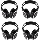 """Four Pack of Two Channel Folding Adjustable Universal Rear Entertainment System Infrared Headphones with 4 X 48"""" 3.5mm Auxiliary Cords Wireless Ir DVD Player Head Phones for in Car Tv Video Audio Listening"""