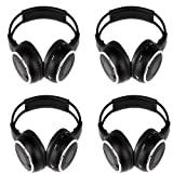 Four Pack of Two Channel Folding Adjustable Universal Rear Entertainment System Infrared Headphones with 4 X 48″ 3.5mm Auxiliary Cords Wireless Ir DVD Player Head Phones for in Car Tv Video Audio Listening