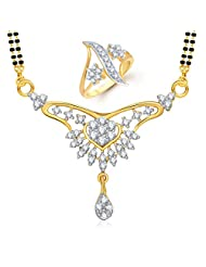 Meenaz Mangalsutra Jewellery Set Combo Gold Plated Cz In American Diamond For Girls &Women Com246