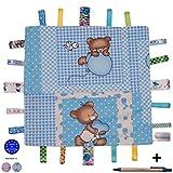 Dazoriginal Baby mantita Manta de seguridad para beb� 100% algod�n Doudou Seguridad Comfort Manta Seguridad Mantita de arrullo para bebes Mantitas de arrullo para Capazos Fiesta de beinvenida OSO Azul