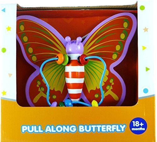 "Real Wood Toys 8"" Pull Along Butterfly Toy"