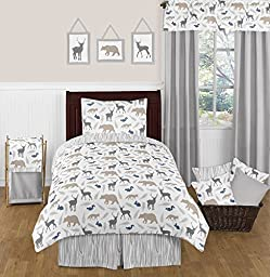 Sweet Jojo Designs Blue Grey and White Woodland Animal Safari 4 Piece Kids Teen Deer Bear Fox Twin Bedding Set Collection