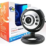 Logicam HD Webcam - True HD USB Webcam, Built-in Microphone, Plug & Play Webcam, 6 LED lights, Plug and Play USB Web Camera which does not need any driver - Ideal Chat webcamby Logicam
