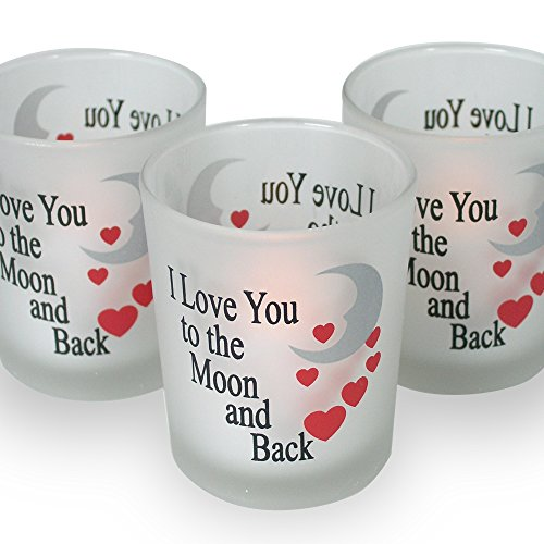 Decorative Votive Holders - I Love You to the Moon & Back Frosted Glass Candle Holders - Red Hearts & Silver Moon - Set of 3 Assorted - Three Flameless Flickering LED Candles Included