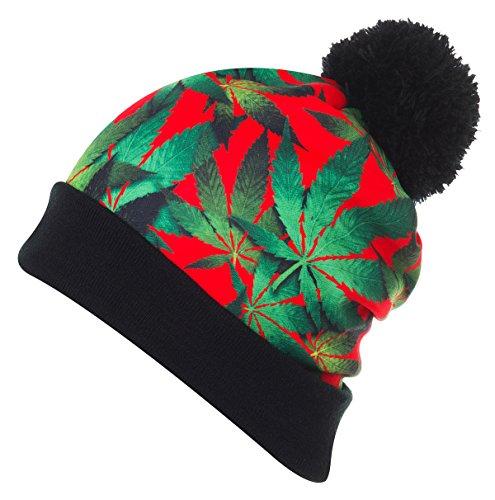 URBAN-K-Multi-Color-Marijuana-Leaf-Print-Pom-Pom-Beanie-hat-UBKEINRED-One-Size