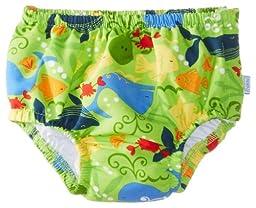 i play. Toddler Boys\' Snap Reusable Absorbent Swim Diaper, Lime Sealife, 3T