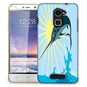 Snoogg blue marlin fish jumping retro Designer Protective Back Case Cover For Coolpad Note 3 Lite