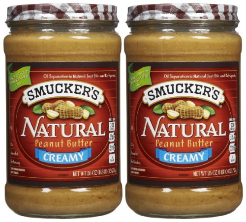 Smuckers Natural Creamy Peanut Butter Non Hydrogenated Healthy Snack 26 Ounce Jars (Pack of 2)
