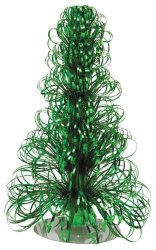 "Creative Converting Glitz Green Ribbon Strand Centerpiece 12"" Christmas Tree - 1"