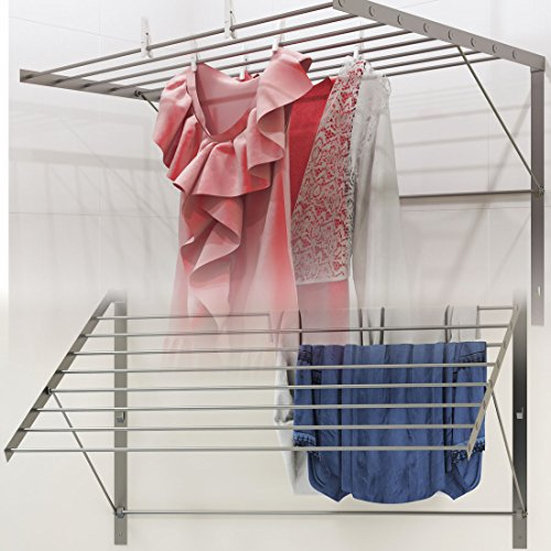 Clothes Drying Rack Stainless Steel Wall Mounted Folding Adjustable Collapsible , 6.5 Yards Drying Capacity (Laundry Wall Drying Rack compare prices)
