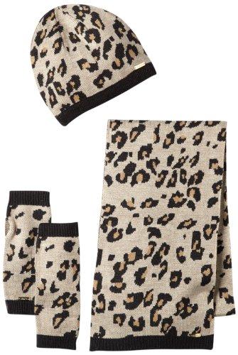 Calvin Klein Women'S Leopard Print Beanie, Scarf And Fingerless Glove Set, Heathered Almond, One Size